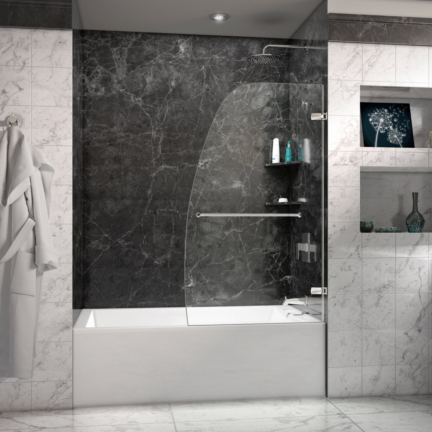 Frameless Hinged Tub Door & Review Aqua Uno 34 in. Frameless Hinged Tub Door - Behind The Shower
