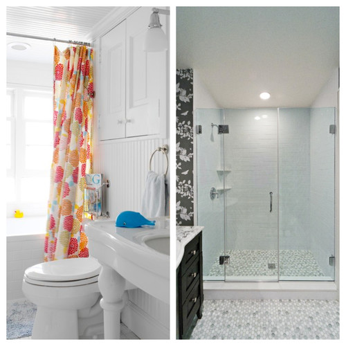 Gl Shower Door Vs Curtain Behind The